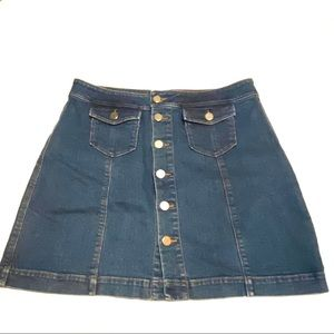 LOFT Button Front Mini Denim Jean Skirt 12